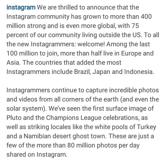 Instagram Celebrates 400 Million User Mark