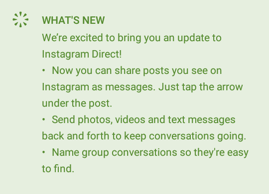 What's new with this updated version of Instagram?