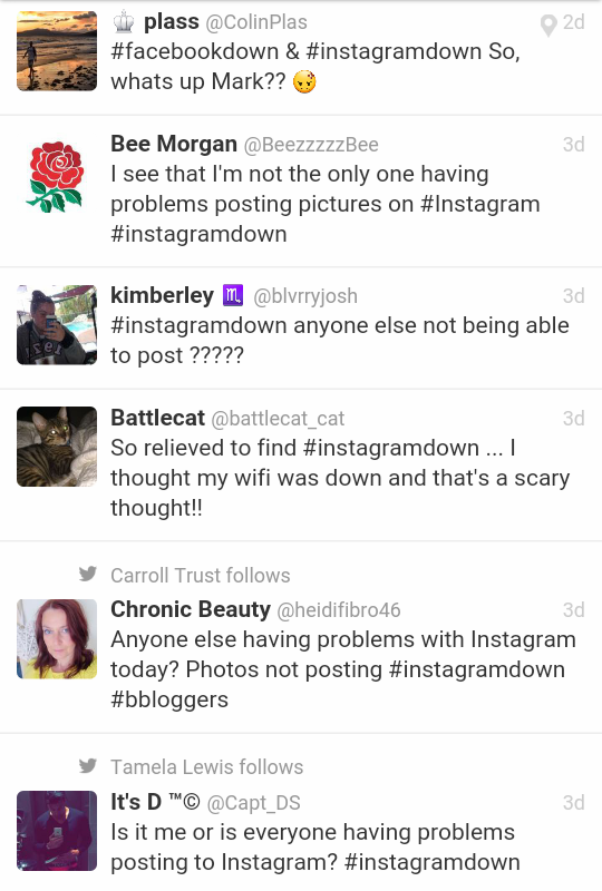 What is wrong with my latest Instagram update?