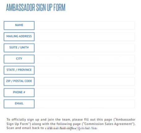 Instagram ambassador sign up form