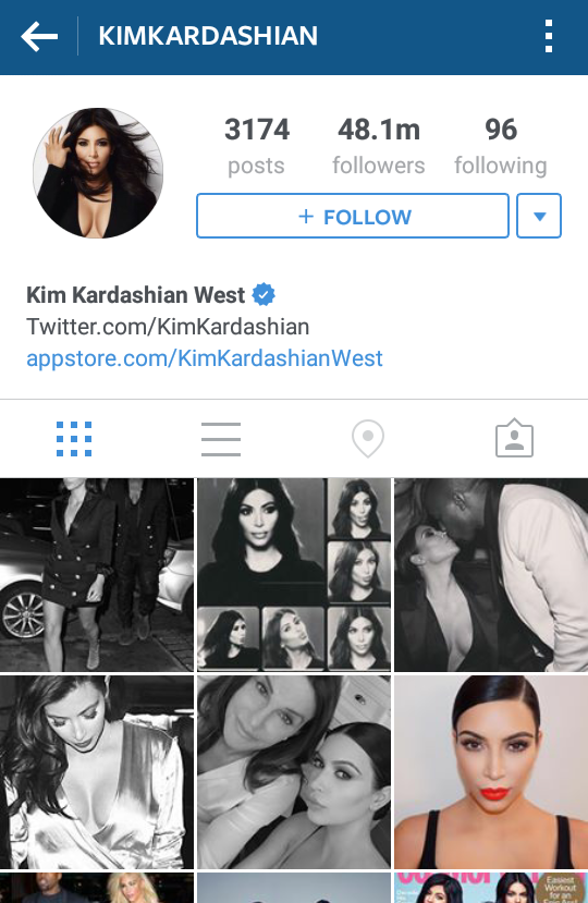 Congrats to Kim Kardashian for being the most second popular account on Instagram with 48.1 million followers!