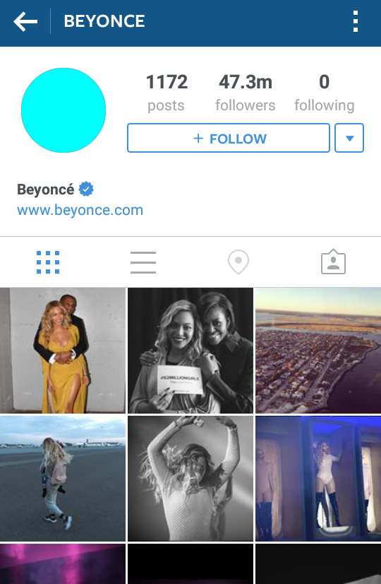 Congrats to Beyonce with 47.2 million Instagram fans