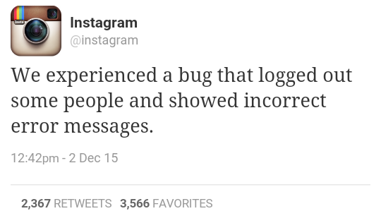Instagram bug that logged out people with error message.