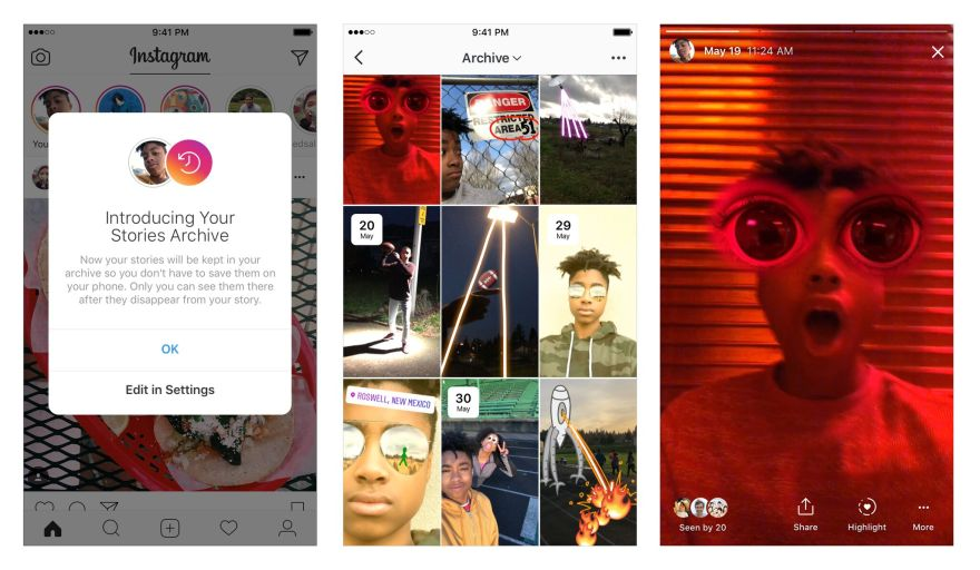 You can now archive your expired stories, highlight profiles in Instagram's new updates